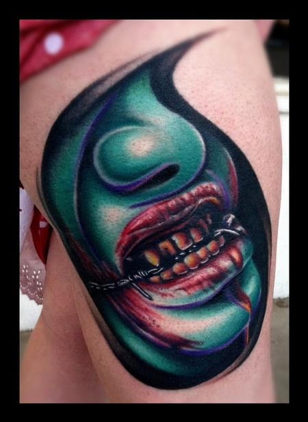 Brent Olson - Creep Face color Brent Olson Art Junkie Tattoo